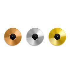 realistic vinyl record metal golden and platinum vector image