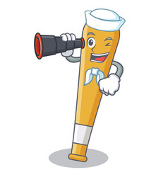 sailor with binocular baseball bat character vector image