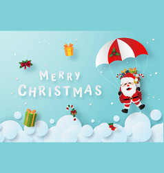 santa claus make a parachute jump on sky vector image