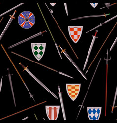 Seamless cold weapons of the middle ages vector