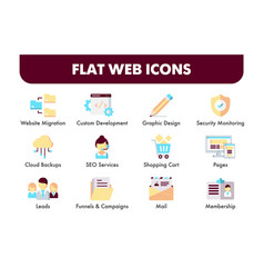 Set flat design icons and social media vector