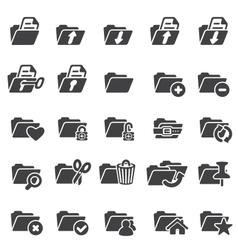 set folder icons vector image