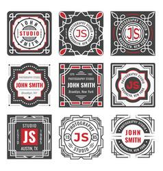 set nine stylish line insignias decorative vector image