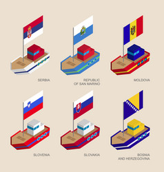 set of isometric ships with flags of europe vector image