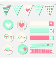 Set of Romantic and Cute Stickers vector