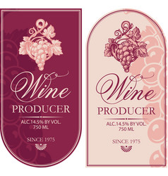 Set retro wine labels with bunches grapes vector