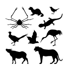 set silhouettes japanese animals vector image