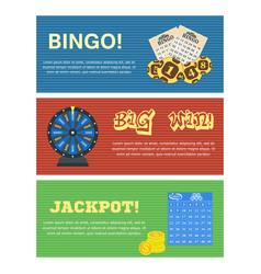 set three lottery horizontal banners vector image