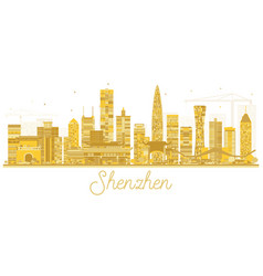 Shenzhen china city skyline golden silhouette vector