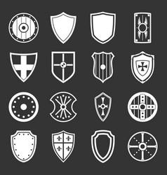 shield frames icons set grey vector image vector image