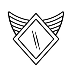 Shield security winged outline empty vector