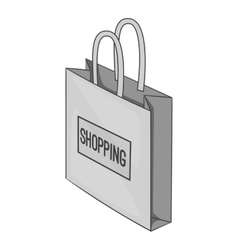 Shopping bag icon gray monochrome style vector image