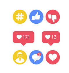 smm and social activity icons - likes and shares vector image