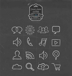 Social media hand drawn sketch icon set vector