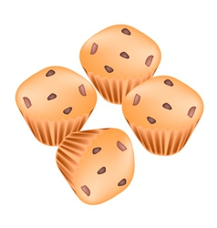 Stack of Thai Muffins with Raisins vector