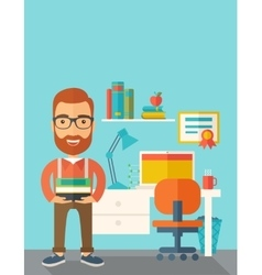 Student or lecturer carrying a stack of books vector image