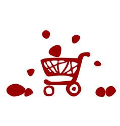 supermarket trolley icon vector image