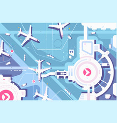 terminal airport airplanes and runway vector image