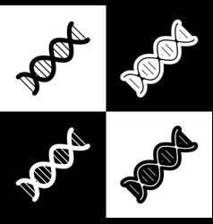 the dna sign black and white icons and vector image