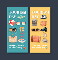 Tourism flyer design with beach ball turtle vector