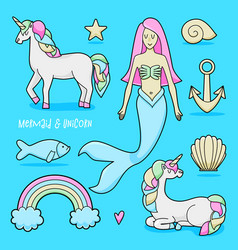 unicorn and mermaid set vector image
