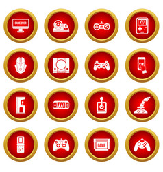 video game icon red circle set vector image