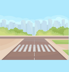 View on traffic intersection with crosswalk green vector