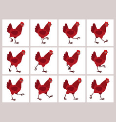 walking red hen animation sprite sheet isolated vector image