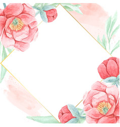 watercolor red peony with golden frame square vector image