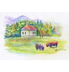 Watercolor rural green summer day village vector