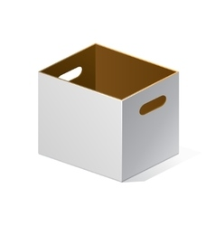 White Cardboard Brown Inside Carton Package Box vector image