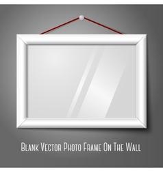 White isolated horizontal photo frame hanging on vector image