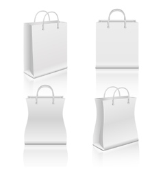 White realistic blank paper shopping bags vector