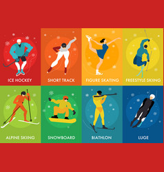Winter sports cards vector