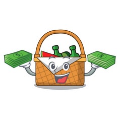 with money bag picnic basket mascot cartoon vector image