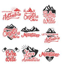 Hiking mountain exploration emblems handwritten vector