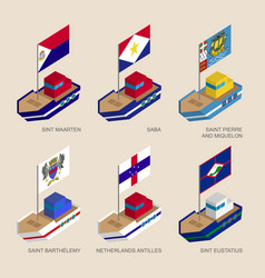 isometric ships with flags of caribbean countries vector image vector image