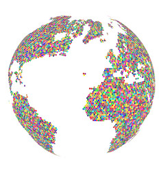 mosaic globe isolated on white background vector image