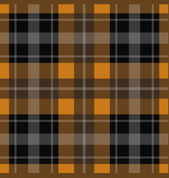 seamless orange black tartan - white stripes vector image