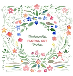 Floral set - watercolor vector image vector image