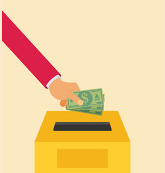 hand putting money in to the donation box flat vector image