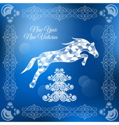 holiday frame happy merry christmas new year horse vector image