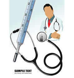Medical elements with doctor vector image