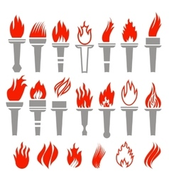 Set of Torch Icon Isolated vector image