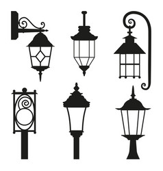 street lamp black silhouette set isolated on white vector image vector image