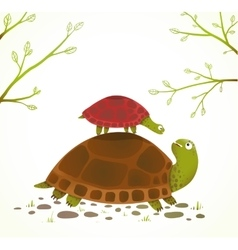 Turtle Mother and Baby Childish Animal Cartoon vector image vector image