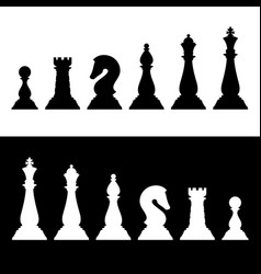 chess pieces black silhouettes set business vector image
