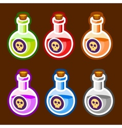 Poison cartoon bottles liquids colors elemetns vector image