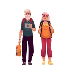 Senior old couple travelling with backpacks vector image