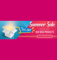 summer sale banner template open box vector image vector image